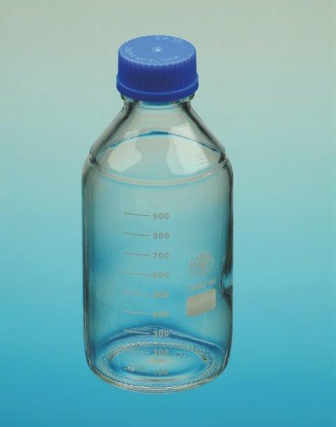 Bottle w blue screw cap, GL45, 500ml